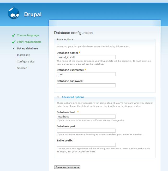 Drupal 6 - Instalacja: Konfiguracja bazy danych
