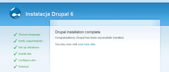 Drupal 6 - Instalacja: Podsumowanie instalacji