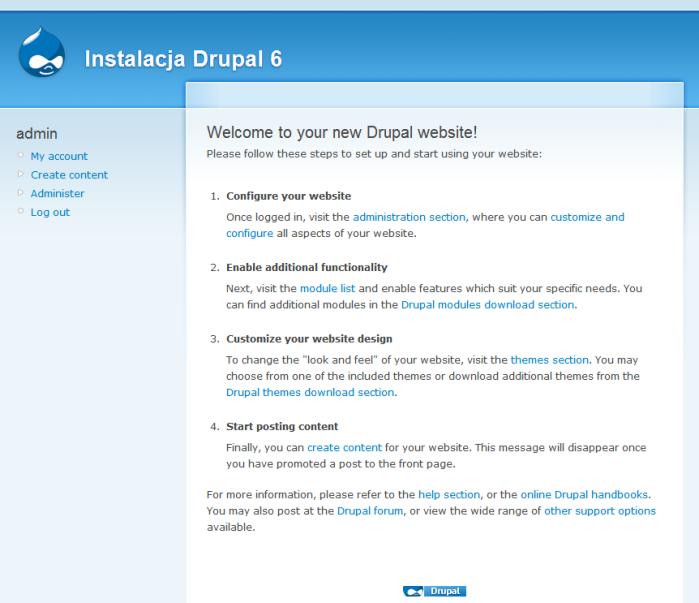 Drupal 6 - Instalacja: Koniec instalacji
